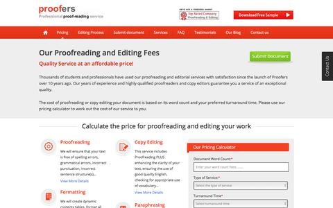 Screenshot of Pricing Page proofers.co.uk - Proofreading Pricing - Calculate the cost for Proofreading - captured July 24, 2018