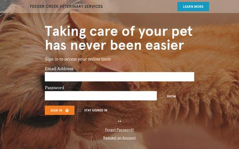 Screenshot of Login Page vetsecure.com - Feeder Creek Veterinary Services - captured Feb. 9, 2016