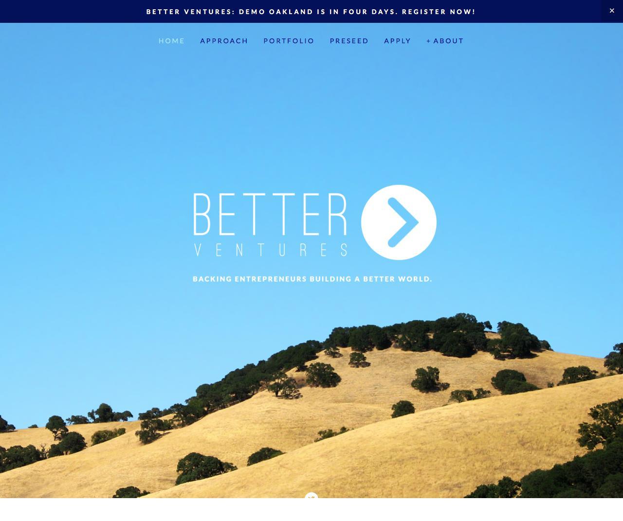 Screenshot of better.vc - Better Ventures - captured Sept. 11, 2017