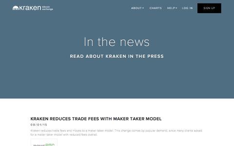 Screenshot of Press Page kraken.com - Kraken | Buy, Sell, and Trade Bitcoins - Press - captured Dec. 1, 2015