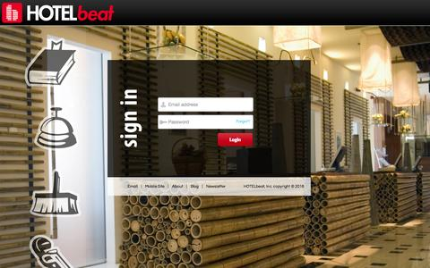 Screenshot of Login Page hotelbeat.com - HOTELbeat - The Pulse of Your Hotel - captured Jan. 12, 2016