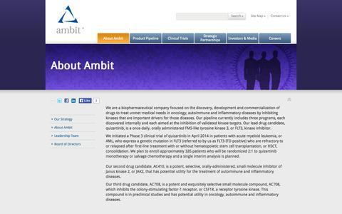 Screenshot of About Page ambitbio.com - Ambit Biosciences Corporation: About Ambit - captured Sept. 13, 2014