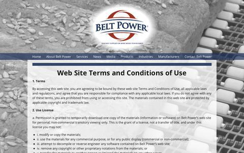 Screenshot of Terms Page beltpower.com - Conveyor Belt Suppliers Terms Of Use Page | Belt Power - captured Oct. 5, 2018