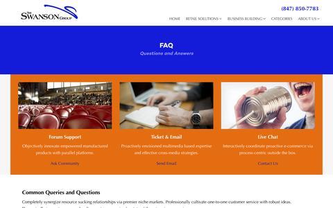 Screenshot of FAQ Page theswansongroup.com - FAQ - The Swanson Group - captured Feb. 28, 2016