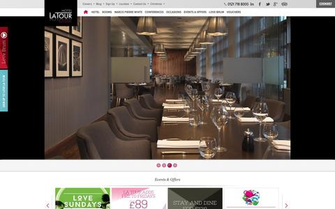 Screenshot of Home Page hotel-latour.co.uk - Hotel La Tour - Luxury 4 Star Hotel & Restaurant In Birmingham City Centre - captured Dec. 13, 2015