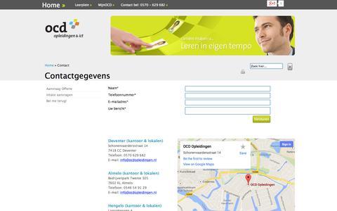 Screenshot of Contact Page ocdopleidingen.nl - Contact |  Binnen OCD ver zorgen wij diverse cursussen, trainingen en opleidingen voor grote bedrijven in het oosten van het land. - captured Sept. 30, 2014