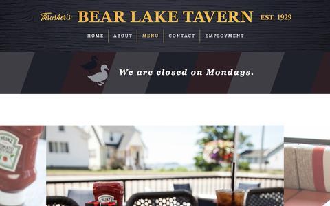 Screenshot of Menu Page bltmuskegon.com - Thrasher's Bear Lake Tavern | Menu - captured July 7, 2018