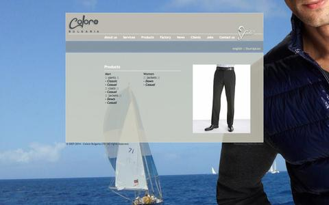 Screenshot of Products Page colorebg.co.uk - Colore Bulgaria - Down Jackets - Manufactoring Mens Trousers -  Casual fashion - captured Oct. 8, 2014