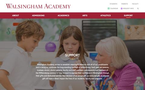 Screenshot of Support Page walsingham.org - Support WA - Walsingham Academy | Williamsburg's Premier independent, co-educational school - captured Oct. 18, 2018