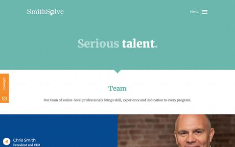 Screenshot of Team Page smithsolve.com - Team - SmithSolve    SmithSolve - captured Nov. 19, 2018