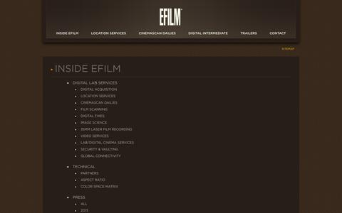 Screenshot of Site Map Page efilm.com - EFILM / Sitemap - captured Sept. 26, 2014