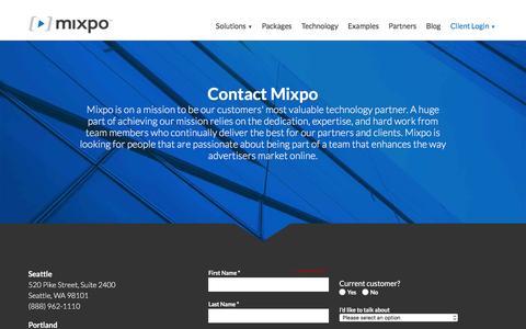 Screenshot of Contact Page mixpo.com - Contact Us - captured Feb. 14, 2016