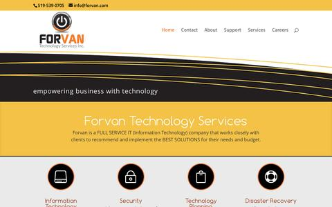 Screenshot of Home Page forvan.com - FULL SERVICE IT Company - Forvan Technologies INC. - 519-537-0705 - captured Nov. 25, 2016