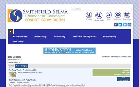 Screenshot of Jobs Page smithfieldselma.com - Job Search - publiclayout full - Greater Smithfield-Selma Area Chamber of Commerce, NC - captured Sept. 30, 2018