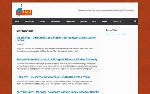 Screenshot of Testimonials Page emuconsulting.com.au - Testimonials   Emu Consulting - captured Oct. 28, 2014