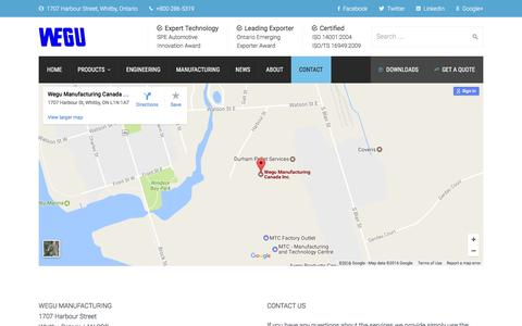 Screenshot of Contact Page wegumanufacturing.com - Contact - Wegu Manufacturing - captured Dec. 14, 2016