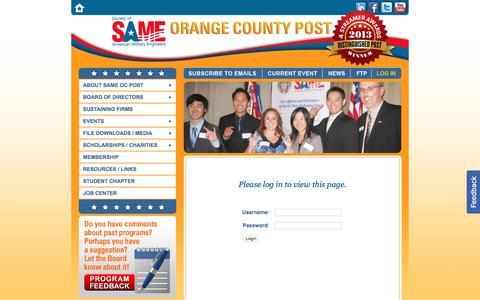Screenshot of Login Page sameoc.org - Society of American Military Engineers Orange County Post ~ Investiture Program on Jan. 19 - captured Nov. 30, 2016