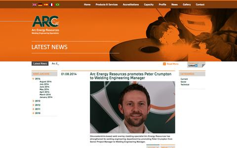 Screenshot of Press Page arcenergy.co.uk - News - captured Oct. 4, 2014