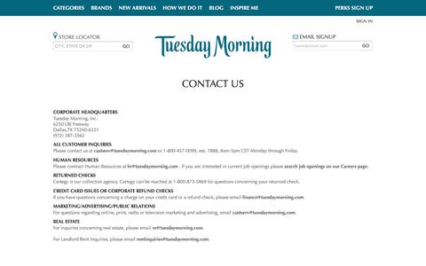Contact Us - Tuesday Morning