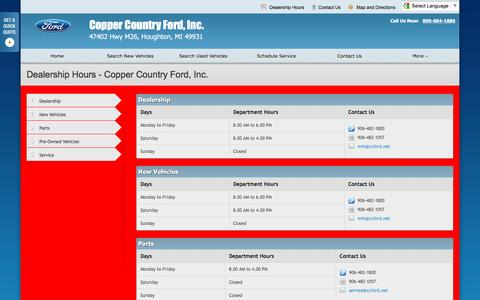 Screenshot of Hours Page coppercountryfordhoughton.com - Dealership Hours at Copper Country Ford, Inc. - Your Houghton, Michigan Ford dealer - captured June 20, 2016