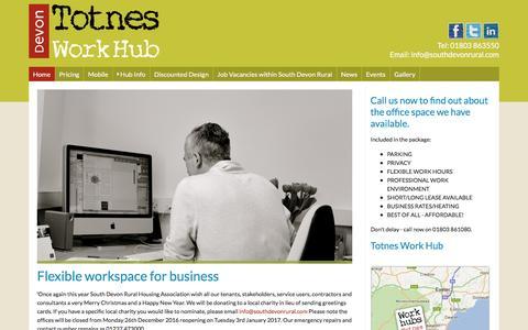 Screenshot of Home Page totnesworkhub.co.uk - Totnes Work Hub - captured Dec. 14, 2016
