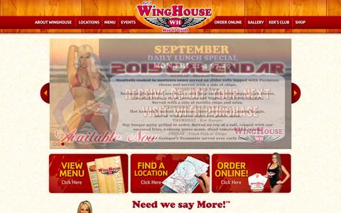 Screenshot of Home Page winghouse.com - Ker's WingHouse Bar & Grill | Florida - captured Sept. 22, 2014