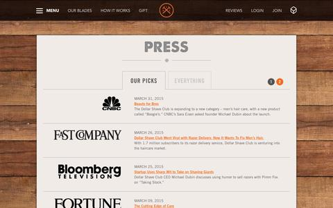 Screenshot of Press Page dollarshaveclub.com - News & Press | Dollar Shave Club - captured Feb. 3, 2016