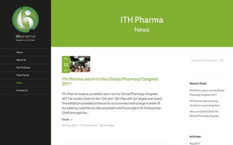 Screenshot of Press Page ithpharma.com - News - ITH Pharma - captured June 7, 2017