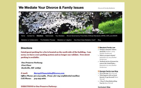 Screenshot of Maps & Directions Page thefinancialsofdivorce.com - Directions | We Mediate Your Divorce & Family Issues - captured Oct. 5, 2014