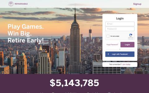 Screenshot of Login Page rewardable.com - Rewardable - captured Nov. 1, 2017