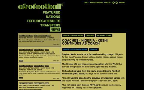 Screenshot of Press Page afrofootball.com - Afrofootball - News - captured Oct. 4, 2014