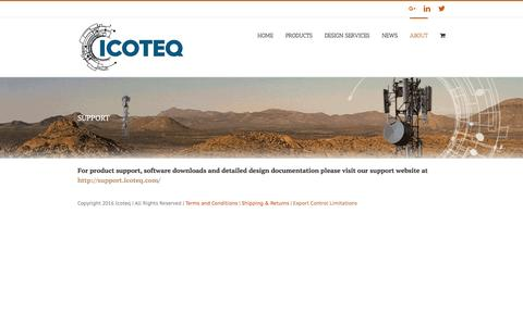 Screenshot of Support Page icoteq.com - SUPPORT – ICOTEQ – RF Designs, Wireless Products & Services - captured Nov. 25, 2016