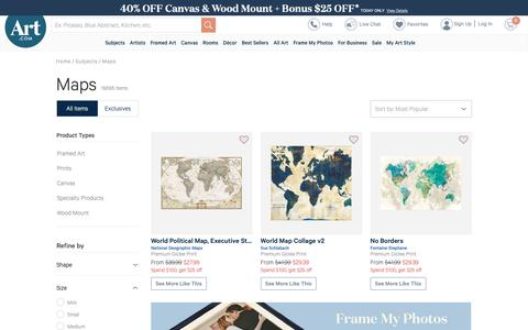 Screenshot of Maps & Directions Page art.com - Beautiful Maps artwork for sale, Posters and Prints | Art.com - captured Oct. 4, 2018