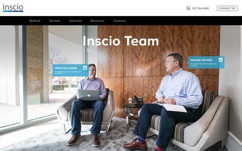 Screenshot of Team Page inscio.com - Team - captured Sept. 19, 2018