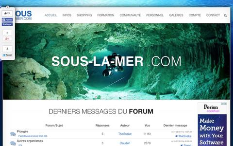 Screenshot of Home Page sous-la-mer.com - Plongée sous-marine - captured Sept. 19, 2014