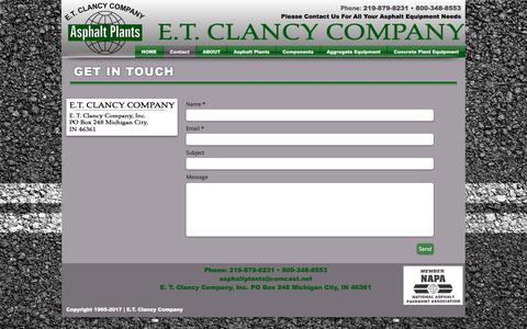 Screenshot of Contact Page etclancy.com - Contact E.T. Clancy - captured July 3, 2018
