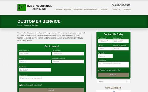 Screenshot of Support Page finnsins.com - Customer Service | Finn's JM&J Insurance Agency - captured Oct. 6, 2014