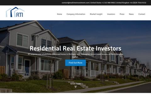 Screenshot of Home Page realtimeinvestment.com - USA Property - Investment Real Estate & Rental Investments | RTI - captured Oct. 7, 2014