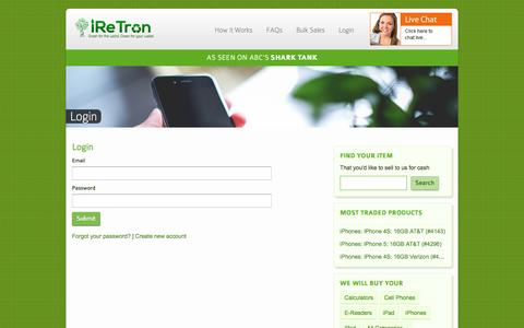Screenshot of Login Page iretron.com - Login - iReTron.com - captured Feb. 4, 2016