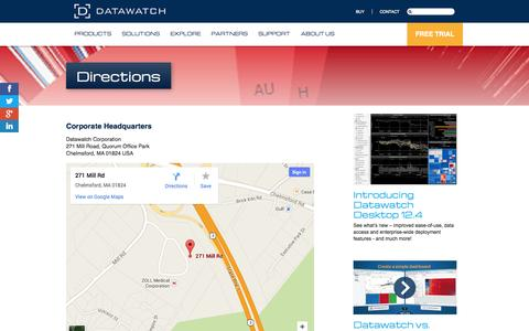 Screenshot of Maps & Directions Page datawatch.com - Directions | Datawatch - captured Oct. 10, 2014
