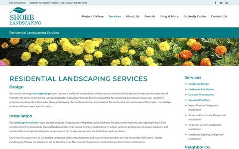 Screenshot of Services Page shorblandscaping.com - Residential Landscaping Services - Serving Washington DC, Maryland, and Northern Virginia - captured Dec. 5, 2018