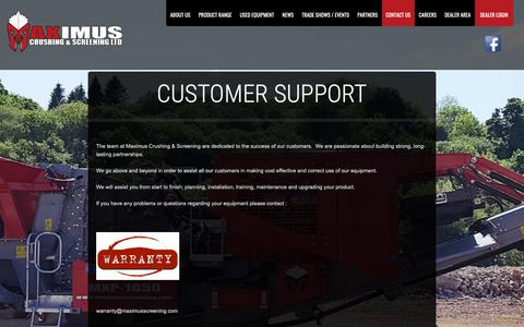 Screenshot of Support Page maximusscreening.com - Customer Support   Maximus Screening   Crushing & Screening Screeners, Crushers, Crushing, Recycling Machinery - captured Oct. 1, 2018
