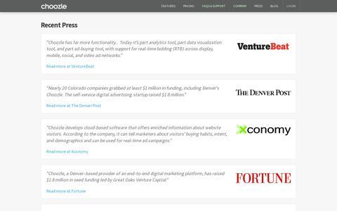 Screenshot of Press Page choozle.com - Choozle - captured July 19, 2014