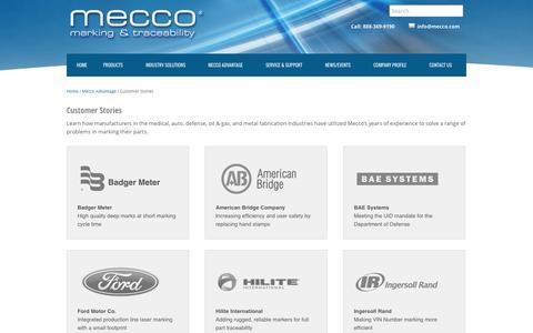 Screenshot of Case Studies Page mecco.com - Customer Stories | Laser Marking, Dot Peen Case StudiesMecco Laser Marking and Dot Peen Marking Systems - captured Oct. 27, 2014