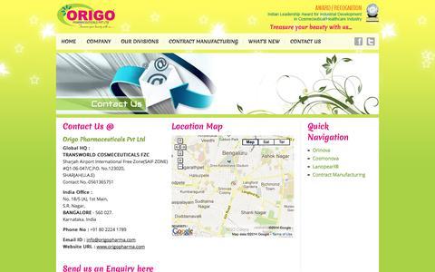 Screenshot of Contact Page origopharma.com - Origo Pharmaceuticals Pvt Ltd | Skin-Care, Anti-Ageing, Hair-Care & Cosmetics Products, Tailored Dermato-Cosmetics Products, origopharma.com - captured Oct. 7, 2014