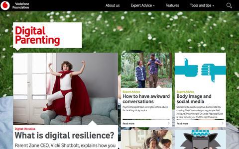 Screenshot of Home Page vodafonedigitalparenting.co.uk - Vodafone Digital Parenting - Keeping kids safe online - captured Feb. 5, 2018