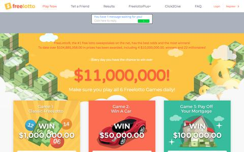 Screenshot of Home Page freelotto.com - Play Free Lottery Style Games & Sweepstakes to Win Money | FreeLotto - captured June 21, 2018