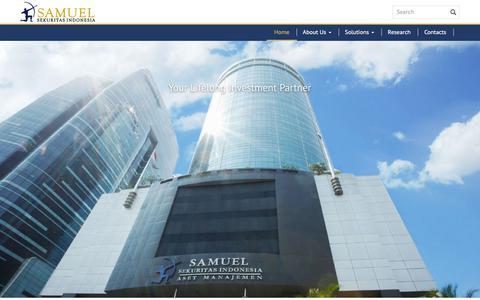 Screenshot of Home Page samuel.co.id - PT Samuel Sekuritas Indonesia - Your Lifelong Investment Partner - captured Sept. 24, 2018
