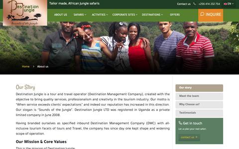 Screenshot of About Page safaritoeastafrica.com - Destination Jungle - captured Oct. 8, 2018