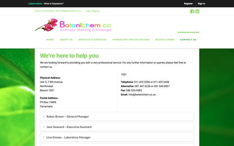 Screenshot of Contact Page botanichem.co.za - Contact | Botanichem - captured Oct. 6, 2018